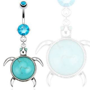 Turquoise Turtle Belly Dangle