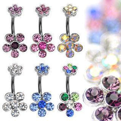 Twin CZ Flowers Belly Ring