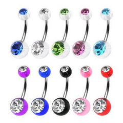Belly Ring - Acrylic CZ Belly Ring