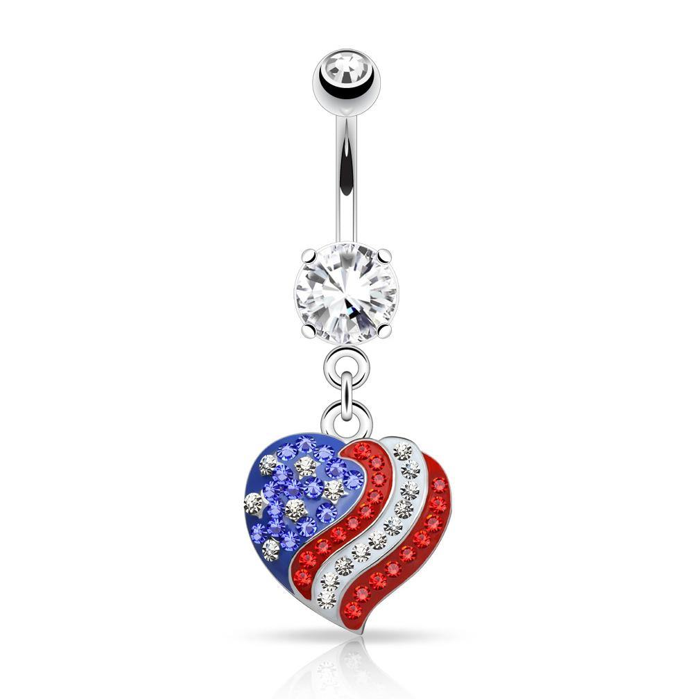 Belly Ring - CZ Love America Belly Dangle