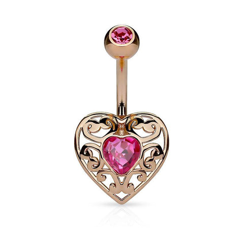 Belly Ring - Filigree Heart CZ Belly Ring