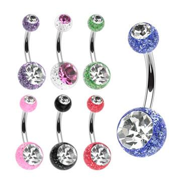 Glitter CZ Belly Ring