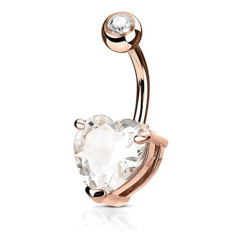 Belly Ring - Heart CZ Belly Ring