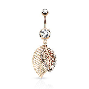 Belly Ring - Leaf CZ Belly Dangle