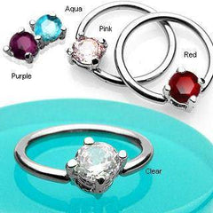 Round CZ Captive Bead Ring