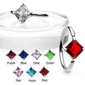 Square CZ Captive Bead Ring