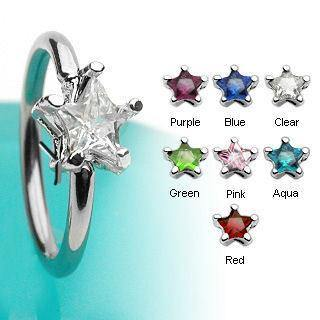 Star CZ Captive Bead Ring