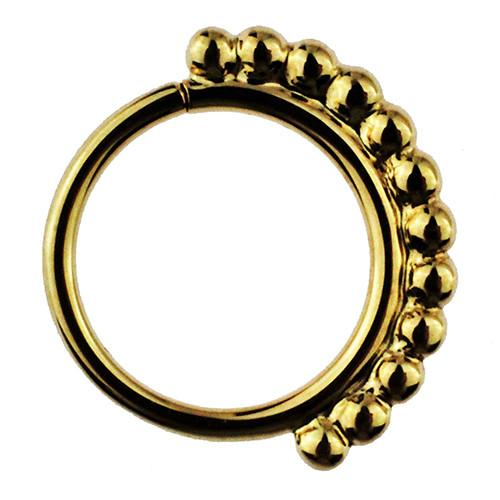 Captive Bead Rings - 14k Gold Latchmi Beaded Goddess Seam Ring By BVLA
