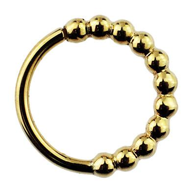 Captive Bead Rings - 14k Gold Oaktier Seam Ring W/ Beaded Row By BVLA