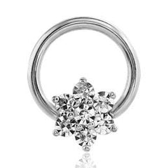 CZ Flower Captive Bead Ring