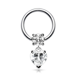 CZ Heart Captive Dangle
