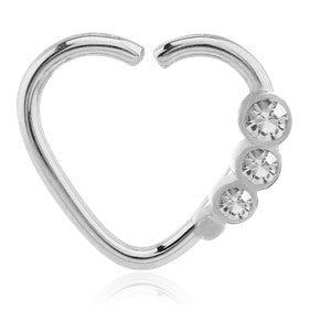 Triple CZ Heart Ring