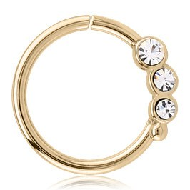 Zircon Gold Triple CZ Continuous Ring