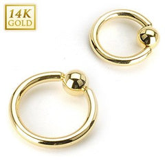 18g Yellow 14k Gold Captive Bead Ring