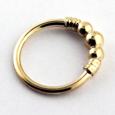 14k Gold Myla Seam Ring w/ Tiny Beads & Faux Wrap by BVLA