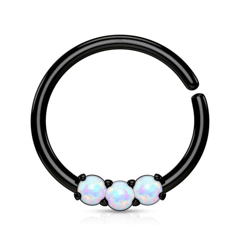 Captive Bead Rings - 3-Opal Continuous Ring