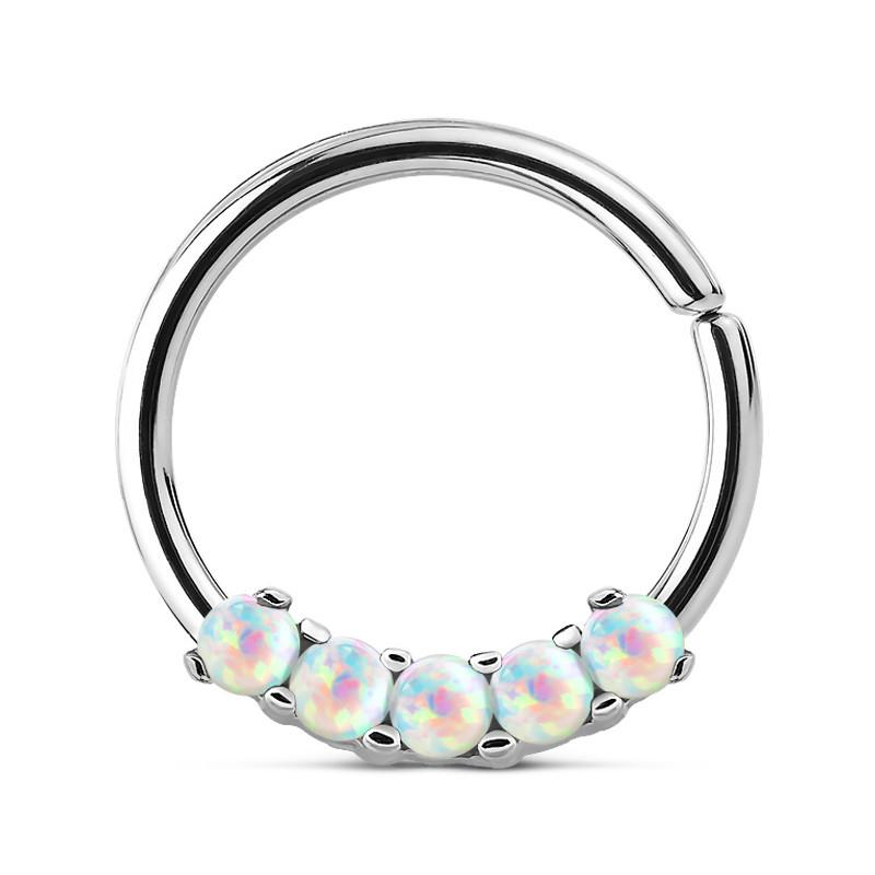 Captive Bead Rings - 5-Opal Continuous Ring