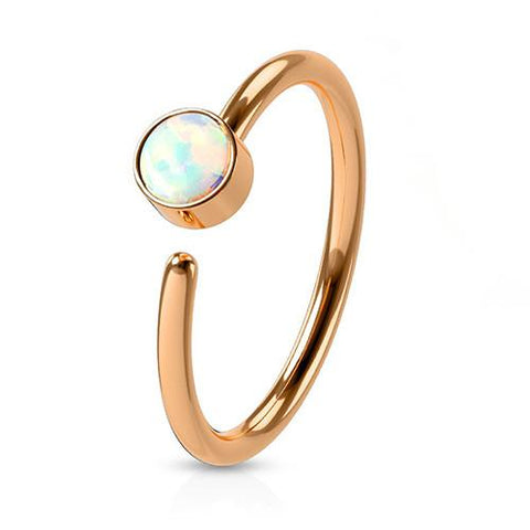 Captive Bead Rings - Bezel Opal Continuous Ring