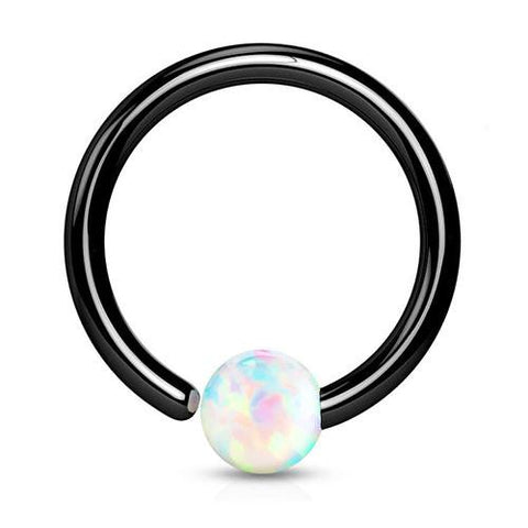 Captive Bead Rings - Blackline Opal Fixed Bead Ring