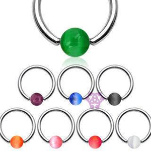 Cat's Eye Captive Bead Ring