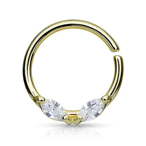 Captive Bead Rings - CZ Continuous Ring