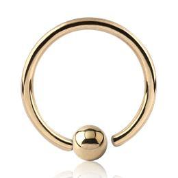 Captive Bead Rings - Gold Plated Fixed Bead Ring