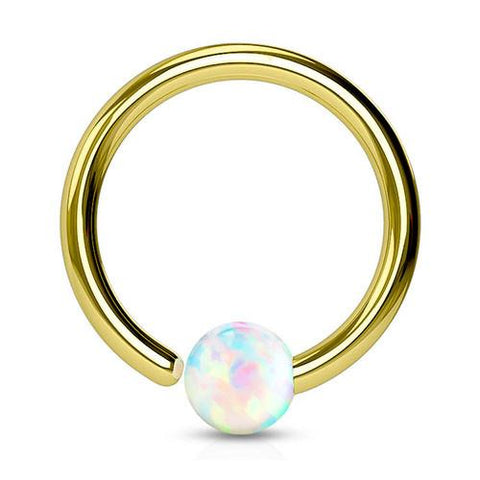 Captive Bead Rings - Gold Plated Opal Fixed Bead Ring