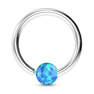Captive Bead Rings - Opal Fixed Bead Ring