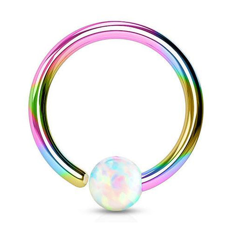 Captive Bead Rings - Rainbow Opal Fixed Bead Ring