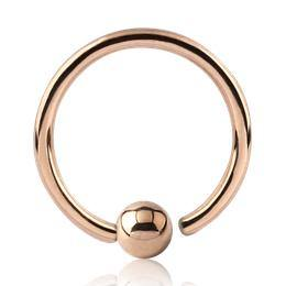 Captive Bead Rings - Rose Gold Plated Fixed Bead Ring