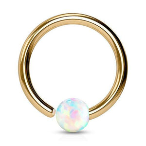 Captive Bead Rings - Rose Gold Plated Opal Fixed Bead Ring
