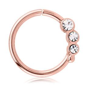 Captive Bead Rings - Rose Gold Plated Triple CZ Continuous Ring