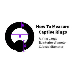 Captive Bead Rings - Striped Acrylic Captive Bead Ring
