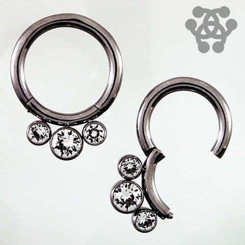 Triple CZ Hinged Segment Ring