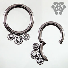 Captive Bead Rings - Triple CZ Hinged Segment Ring