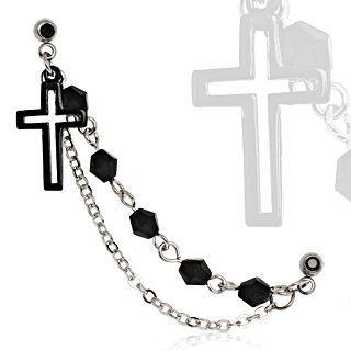Cartilage Chain & Black Cross Dangle