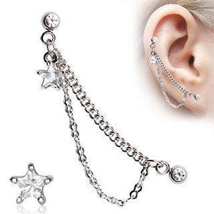 Cartilage Chain & CZ Star Dangle