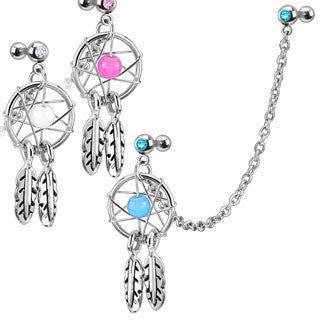Cartilage - 16g Cartilage Barbells W/ Chain & Dream Catcher Dangle
