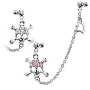 Cartilage Chain & CZ Skull Dangle