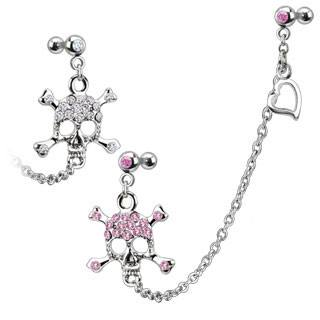 16g Cartilage Chain & CZ Skull Dangle