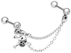 Skull & Crossbones Cartilage Chain Dangle