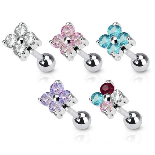 Cartilage - 16g CZ Gem Flower Quad Cartilage Barbell