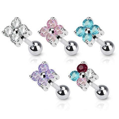 CZ Flower Cartilage Barbell