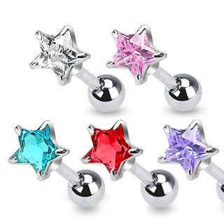 Star CZ Cartilage Barbell
