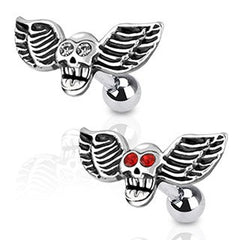 Winged CZ Skull Cartilage Barbell