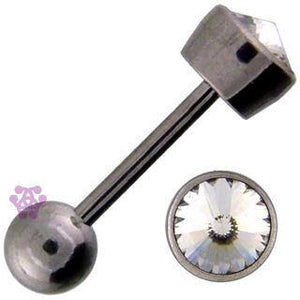 Bezel CZ Round Cartilage Barbell