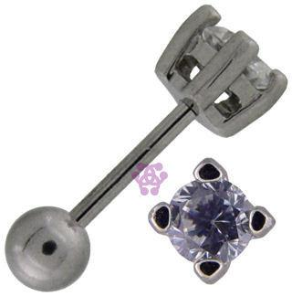 Clear CZ Round Cartilage Barbell
