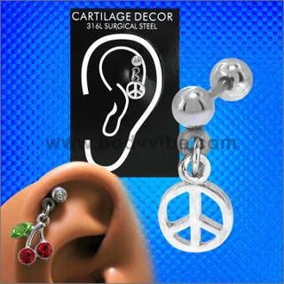 18g Peace Sign Cartilage Dangle