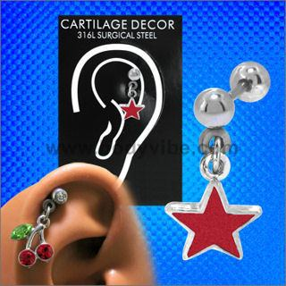Red Star Cartilage Dangle