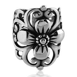 Wide Flower Stainless Steel Ear Cuff